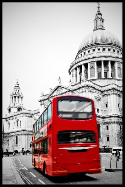 London Bus St. Pauls Poster