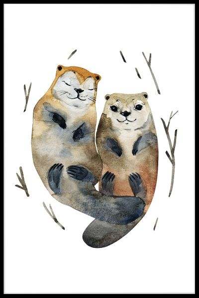 Otter Love Watercolor Poster