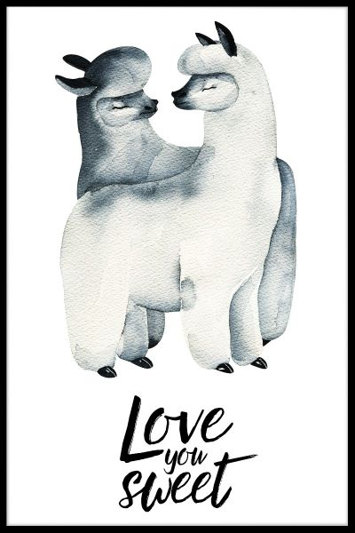 Llama Love Watercolor Poster