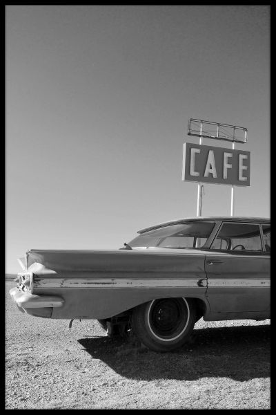 Cafe Classic Car Poster