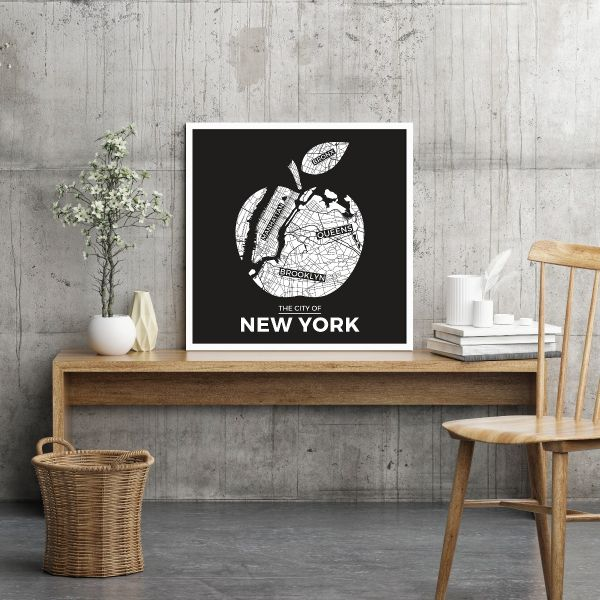 New York Black Apple Map Tavla