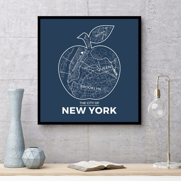 New York Apple Map Blue Tavla