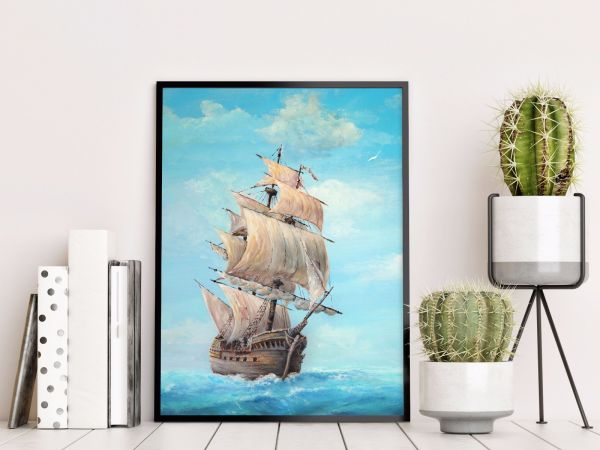 Old Wooden Ship Painting Tavla