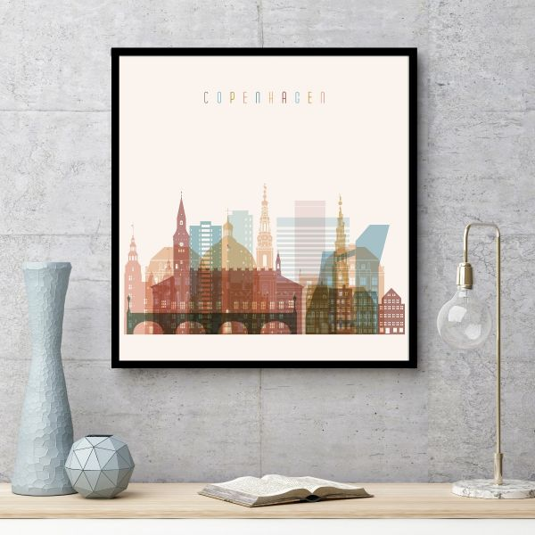 Copenhagen Skyline Illustration Tavla