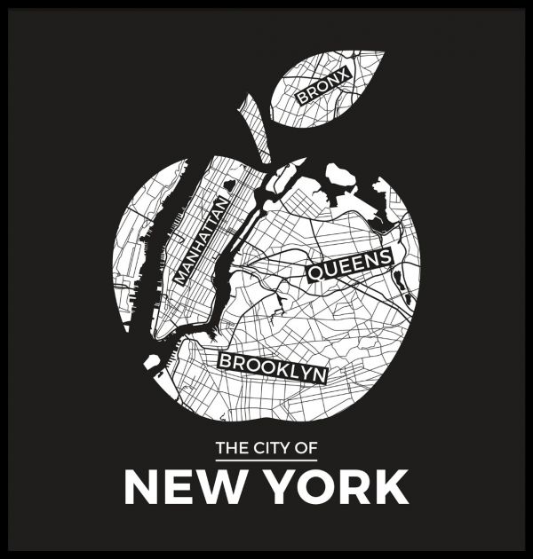 New York Black Apple Map Poster