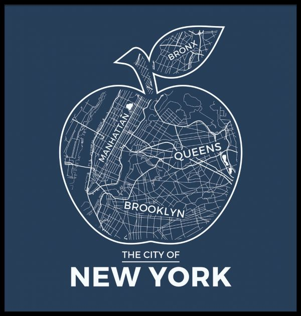 New York Apple Map Blue Poster