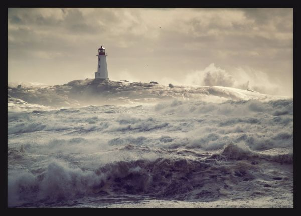 Lighthouse at Rough Seas Poster