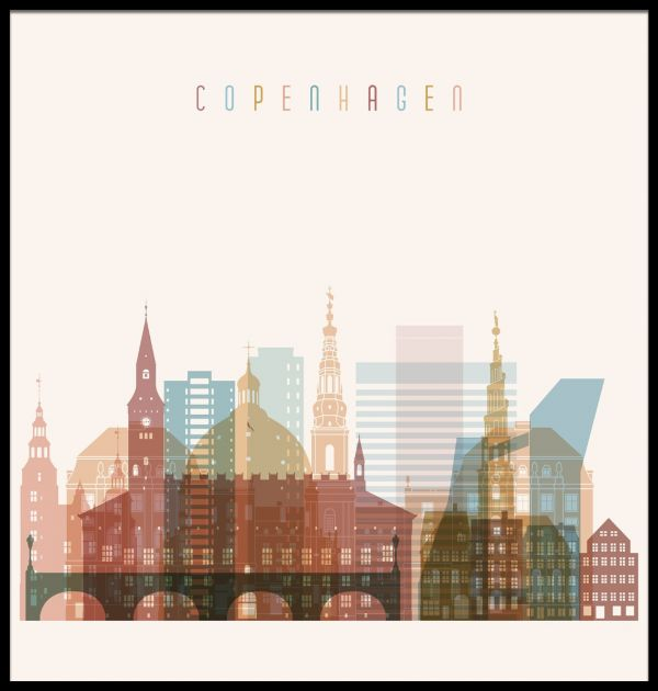 Copenhagen Skyline Illustration Poster