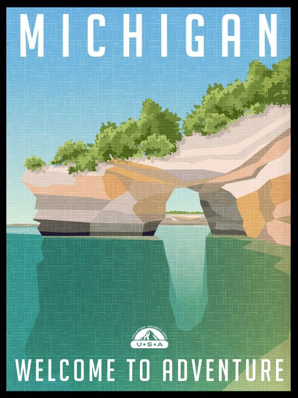Michigan State Illustration Poster