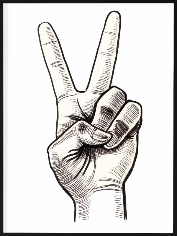 Victory Hand Sign Illustration Poster