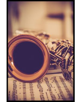 Saxophone and Notes Vintage Poster