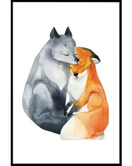Fox Love Watercolor Poster