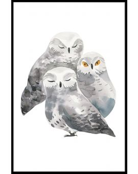Owl Family Watercolor Poster