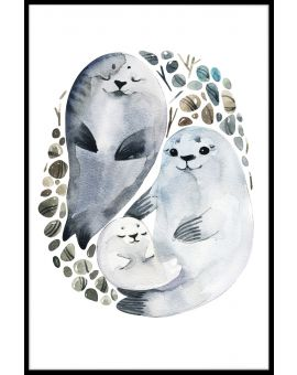 Seal Family Watercolor Poster