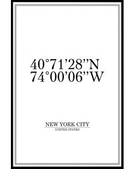 New York City Coordinates Poster