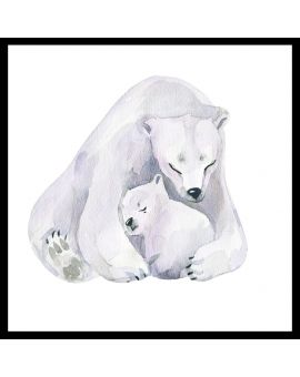Polar Bear Love Watercolor Poster