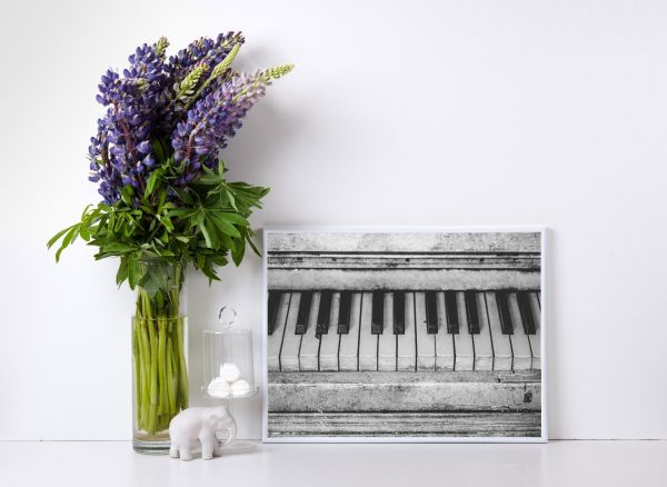 Vintage Piano Black & White Tavla