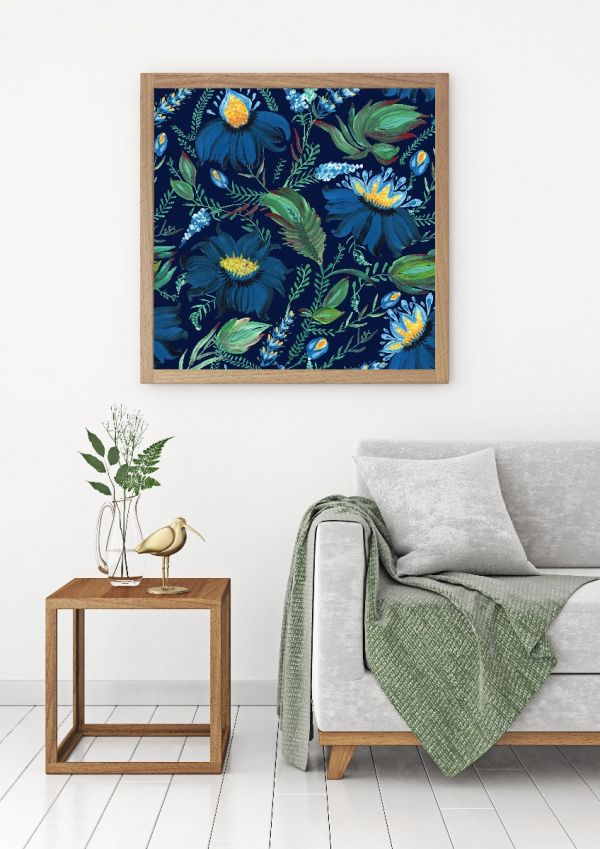 Dark Flowers Painting Tavla