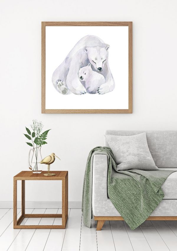 Polar Bear Love Watercolor Tavla