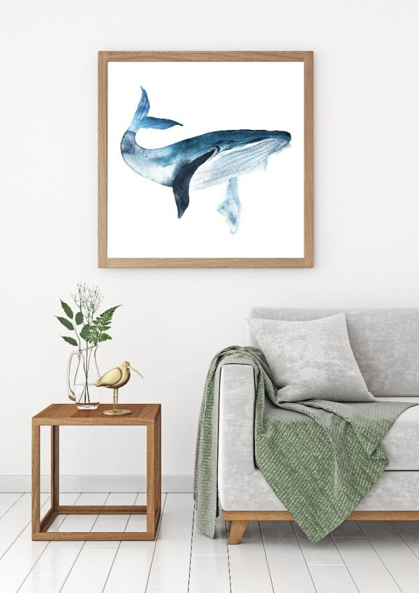 Blue Whale Watercolor Tavla