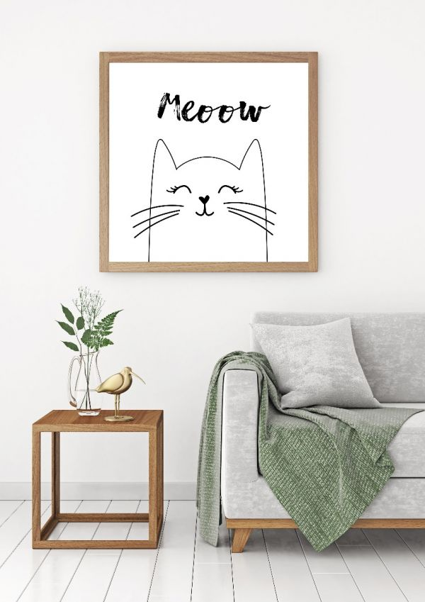 Hand Drawn Meow Cat Tavla