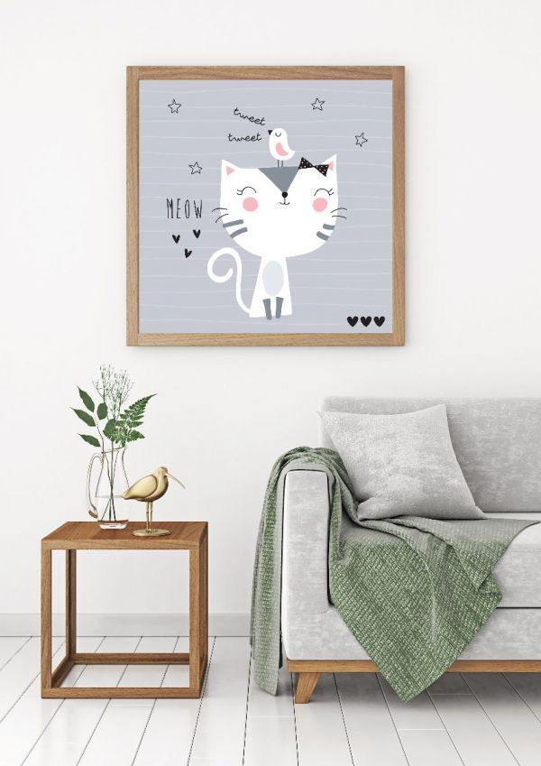 Meow Cute Illustration Tavla