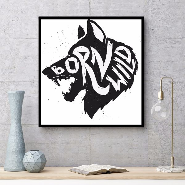 Born Wild Wolf Illustration Tavla