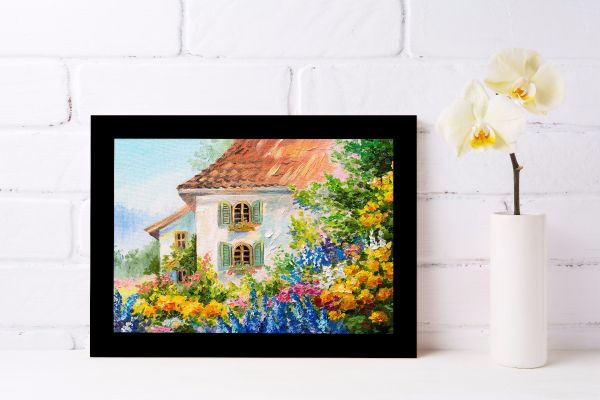 Flower House Oil Painting Tavla
