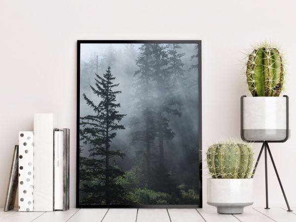 Fog in Evergreen Forest Tavla