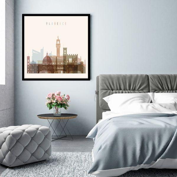 Florence Skyline Illustration Tavla