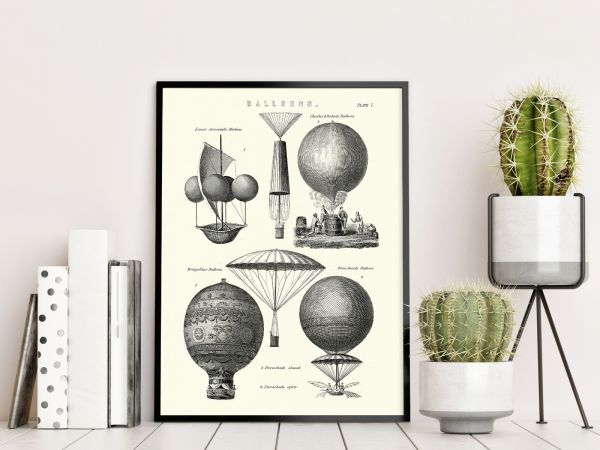 Vintage Hot Air Balloon Types Tavla