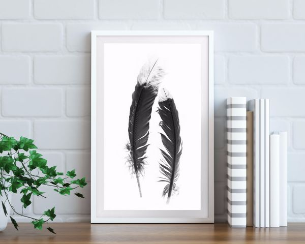 Feather Black & White Tavla