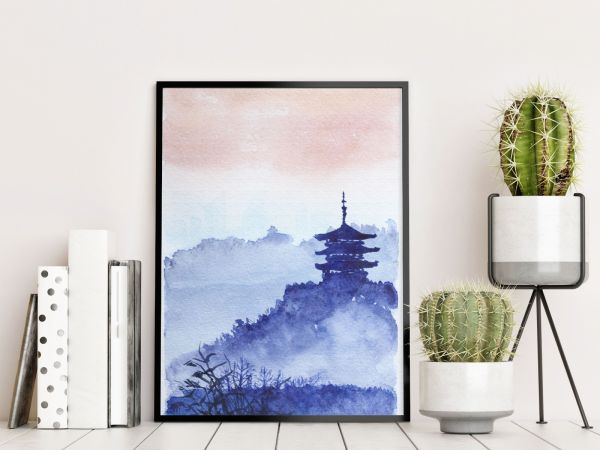 Watercolor Japanese Temple Forest Tavla