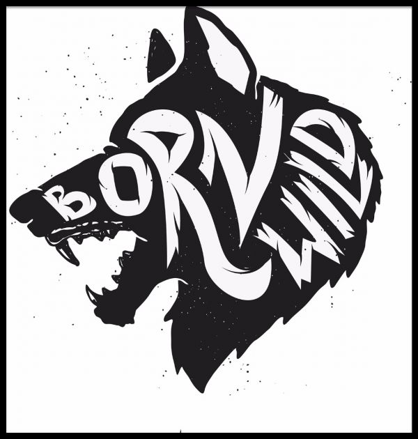 Born Wild Wolf Illustration Poster