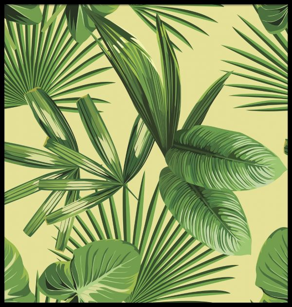 Tropical Palm Leaves Illustration Poster