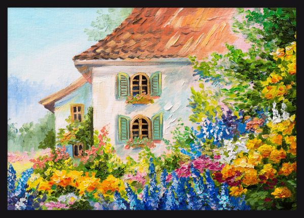 Flower House Oil Painting Poster