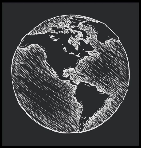 Earth Drawing Illustration Poster