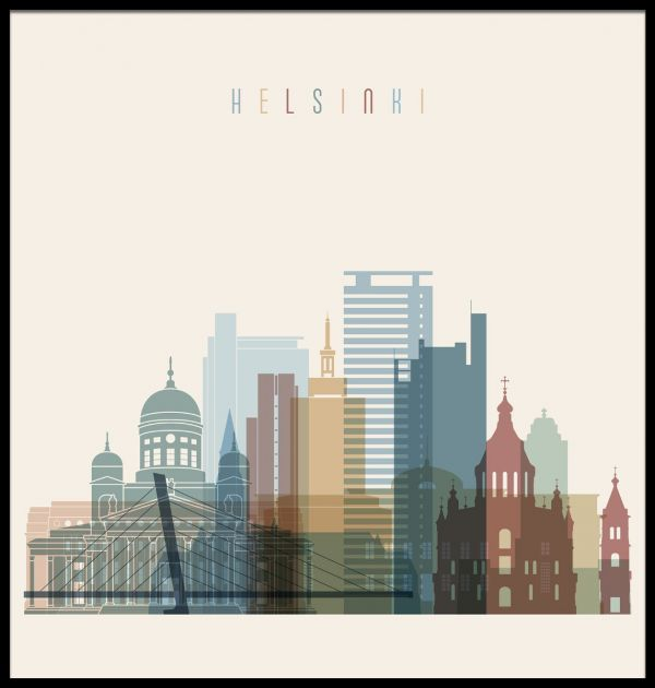 Helsinki Skyline Illustration Poster