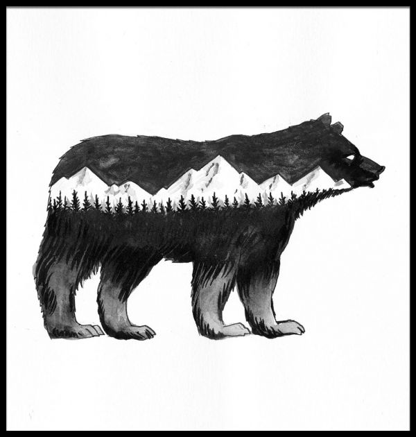 Bear and Mountains Illustration Poster