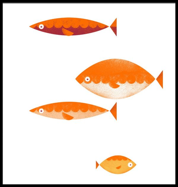 Four Fish Graphical Illustration Poster