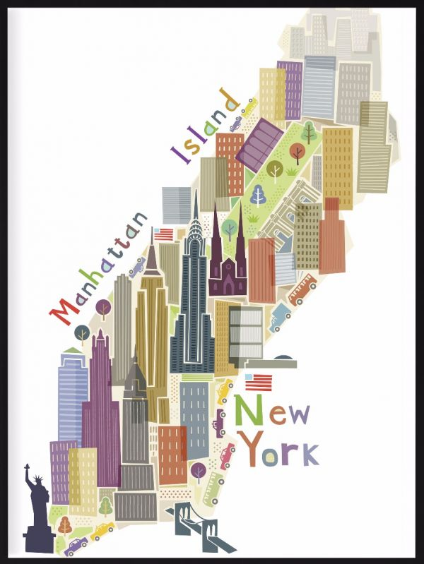 Manhattan Island Map Art Poster