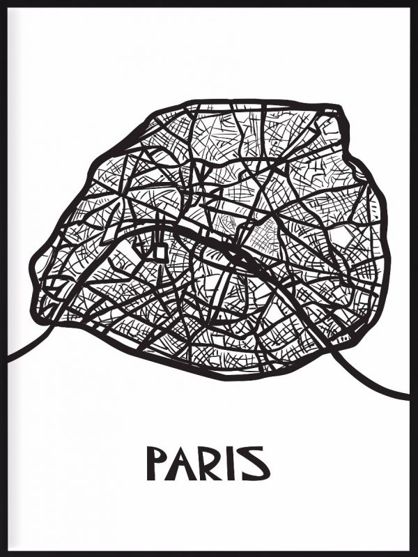 Paris Map Illustration Poster