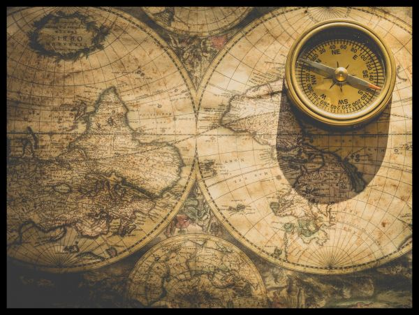 Vintage Map and Compass Poster