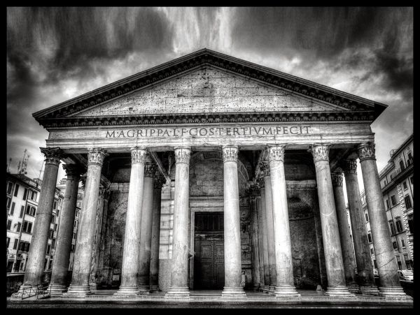 Pantheon Rome Italy B&W Poster