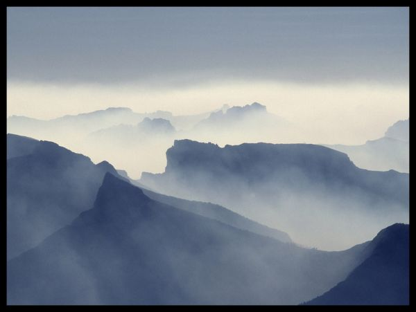 Misty Mountains With Sunrays Poster