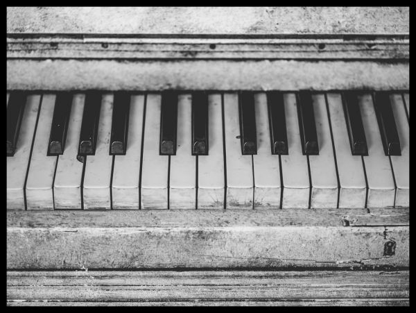 Vintage Piano Black & White Poster