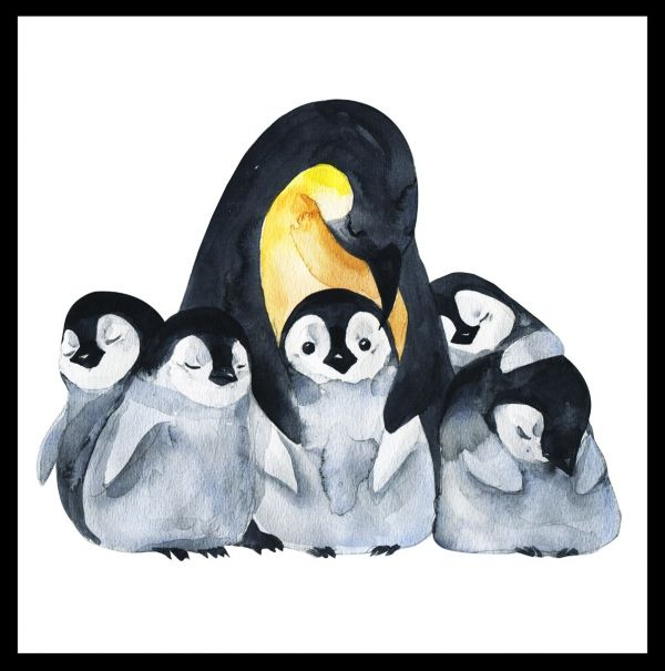 Penguin Family Watercolor Poster