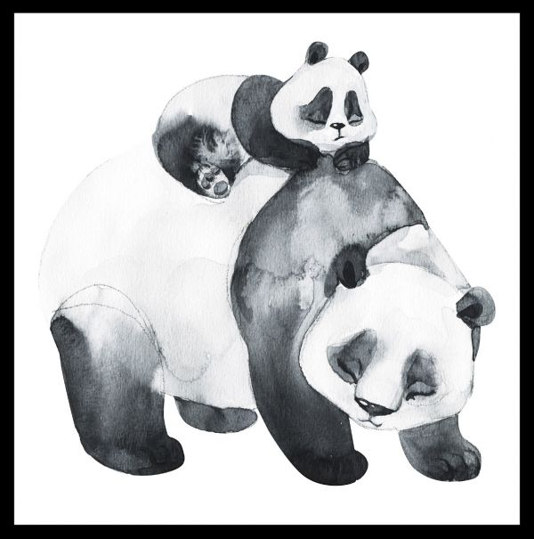 Panda Family Watercolor Poster