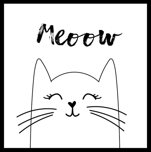Hand Drawn Meow Cat Poster