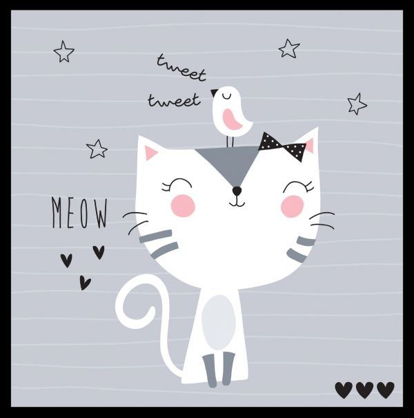 Meow Cute Illustration Poster
